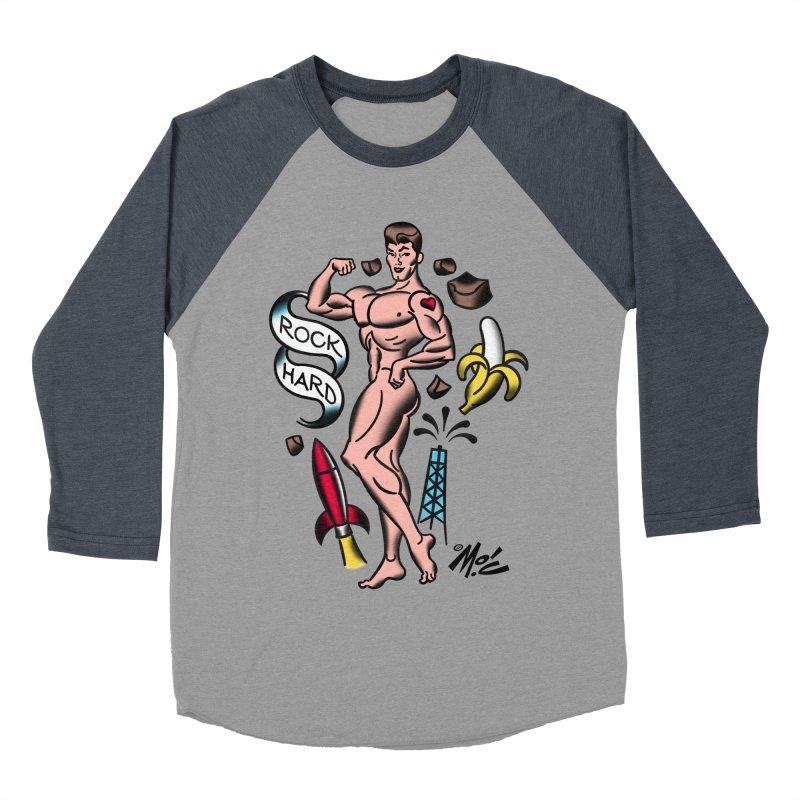 "Beefcake Buddies- ""Rock Hard""! Women's Baseball Triblend Longsleeve T-Shirt by Mitch O'Connell"
