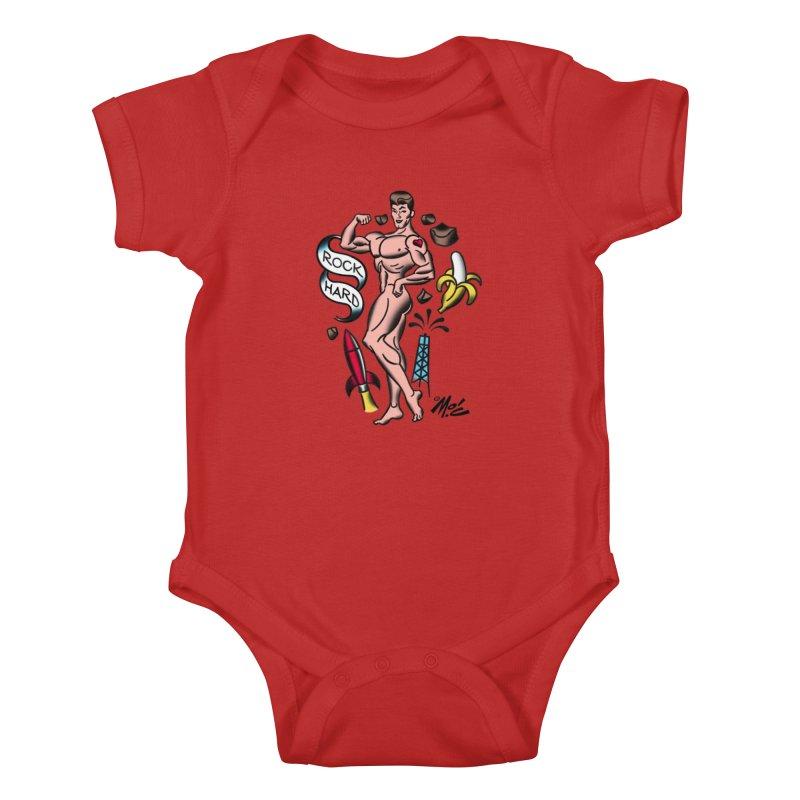 "Beefcake Buddies- ""Rock Hard""! Kids Baby Bodysuit by Mitch O'Connell"