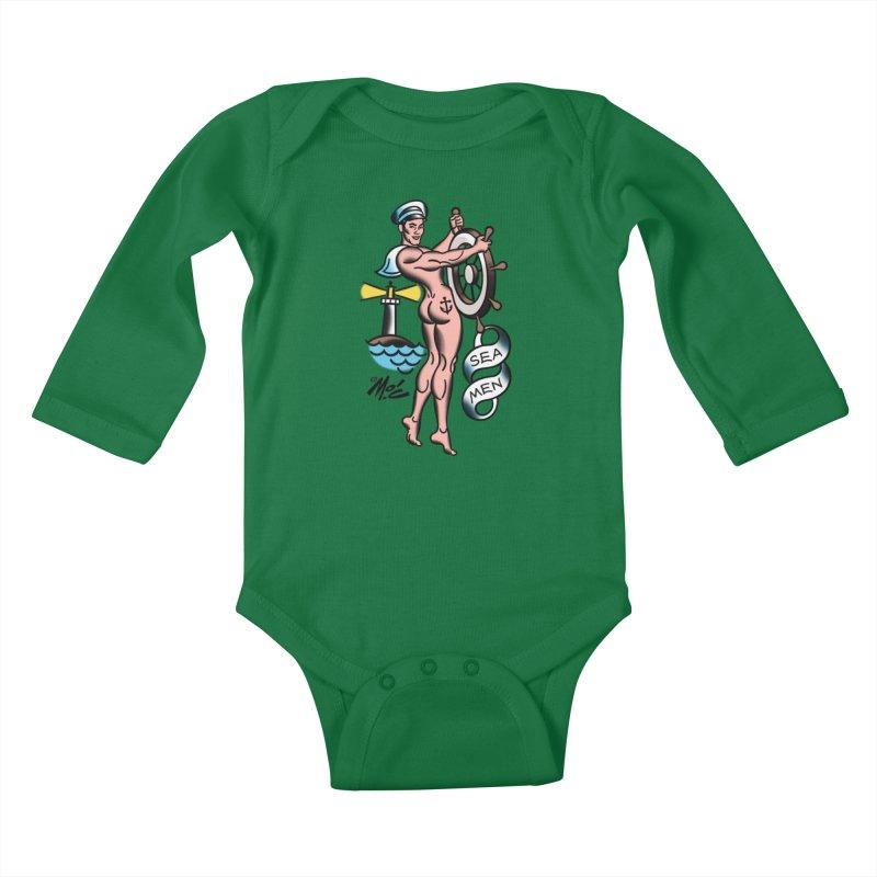 "Beefcake Buddies- ""Sea Men""! Kids Baby Longsleeve Bodysuit by Mitch O'Connell"