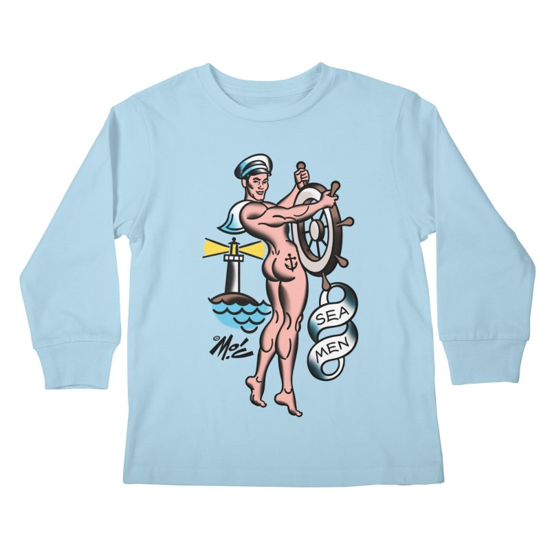 "Beefcake Buddies- ""Sea Men""! Kids Longsleeve T-Shirt by Mitch O'Connell"