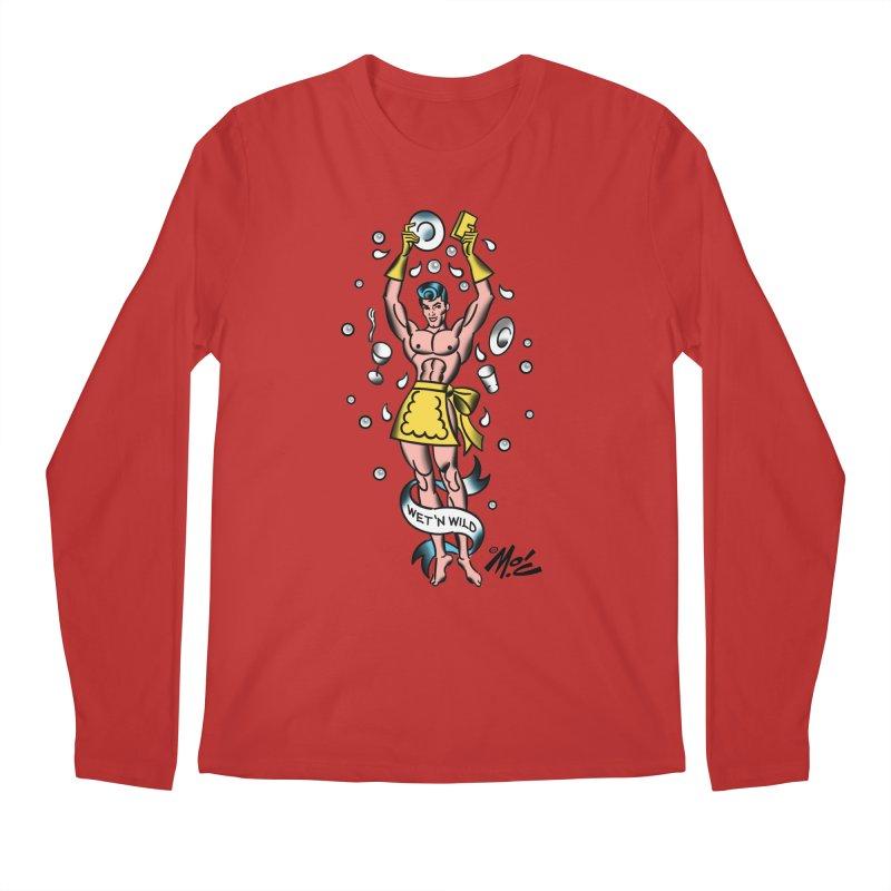 """Beefcake Buddies- """"Wet 'n Wild""""! Men's Regular Longsleeve T-Shirt by Mitch O'Connell"""