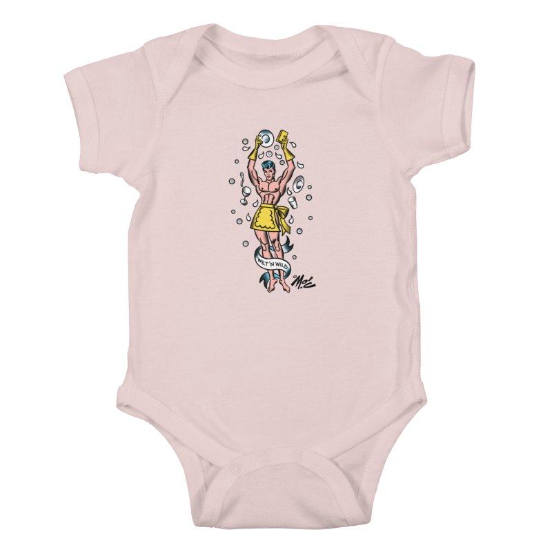"""Beefcake Buddies- """"Wet 'n Wild""""! Kids Baby Bodysuit by Mitch O'Connell"""