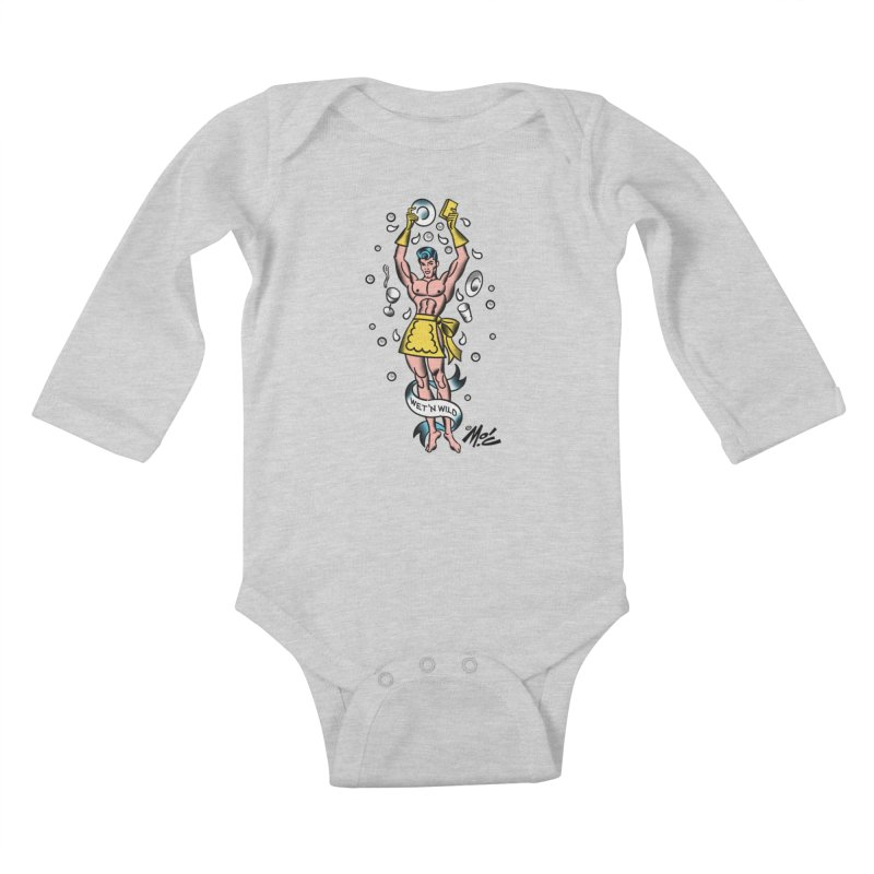 "Beefcake Buddies- ""Wet 'n Wild""! Kids Baby Longsleeve Bodysuit by Mitch O'Connell"