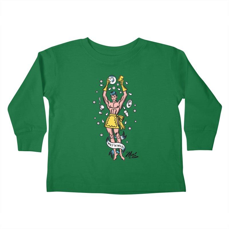 "Beefcake Buddies- ""Wet 'n Wild""! Kids Toddler Longsleeve T-Shirt by Mitch O'Connell"