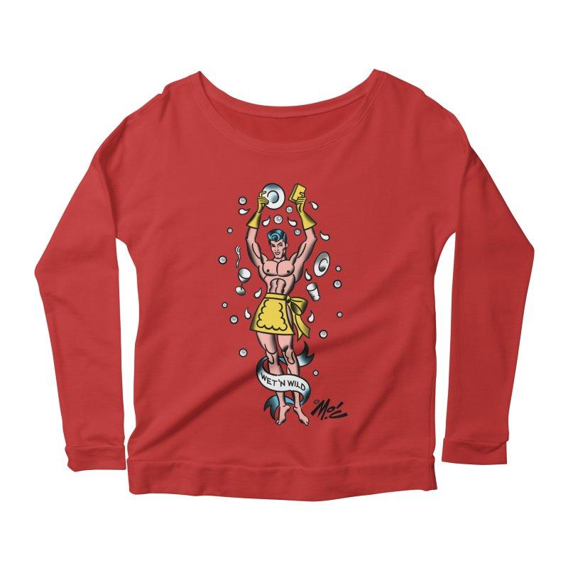"Beefcake Buddies- ""Wet 'n Wild""! Women's Scoop Neck Longsleeve T-Shirt by Mitch O'Connell"