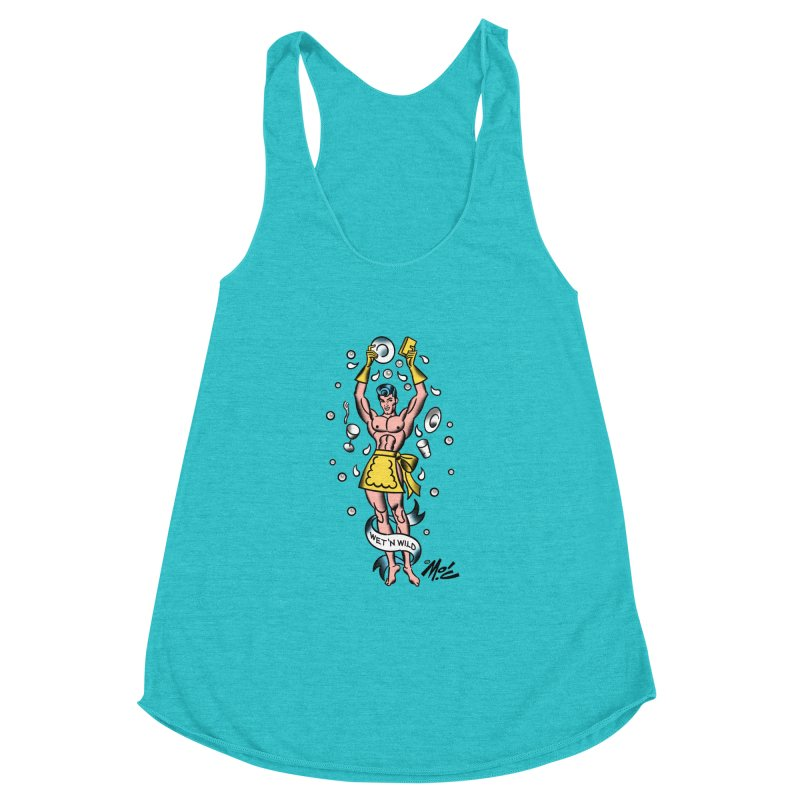 "Beefcake Buddies- ""Wet 'n Wild""! Women's Racerback Triblend Tank by Mitch O'Connell"