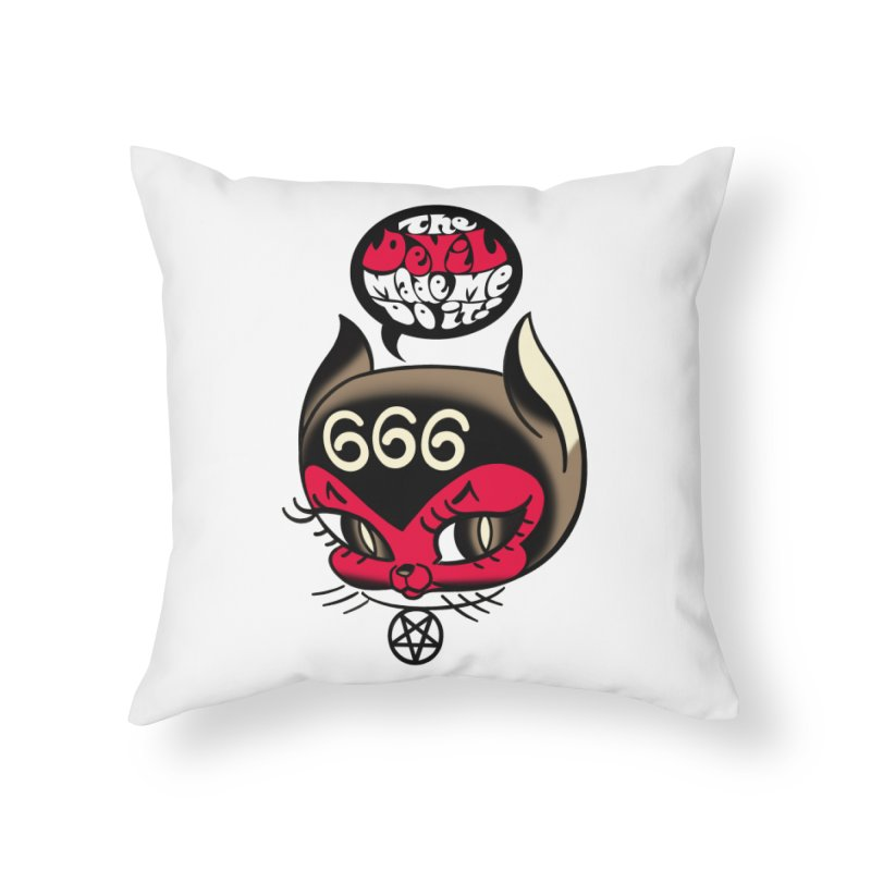 The Devil Made Me Do It! Home Throw Pillow by Mitch O'Connell