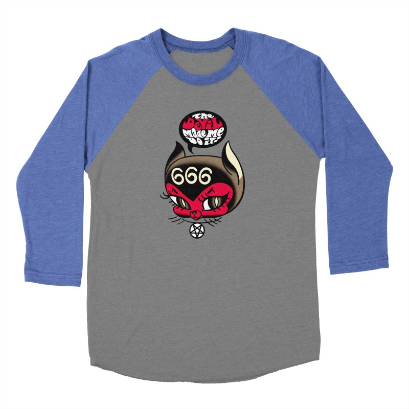 The Devil Made Me Do It! Men's Baseball Triblend Longsleeve T-Shirt by Mitch O'Connell