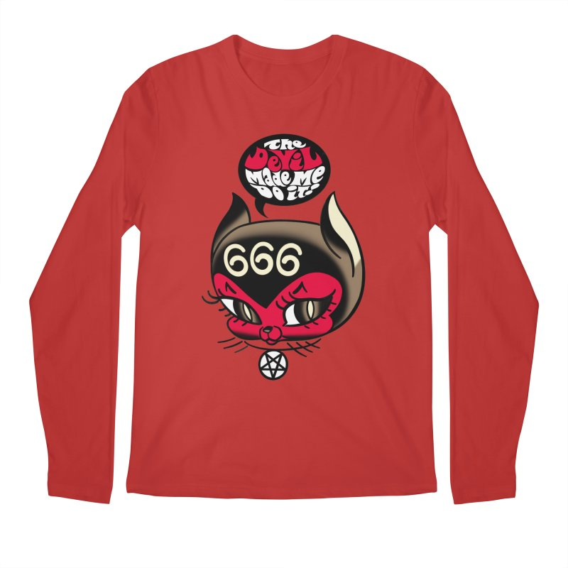 The Devil Made Me Do It! Men's Regular Longsleeve T-Shirt by Mitch O'Connell