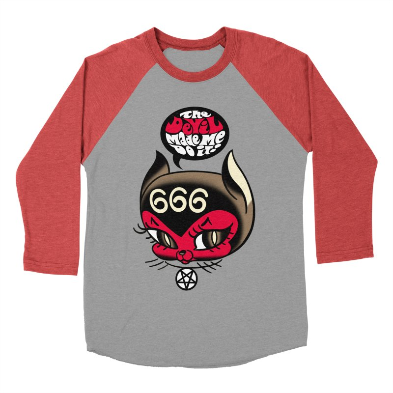 The Devil Made Me Do It! Women's Baseball Triblend Longsleeve T-Shirt by Mitch O'Connell