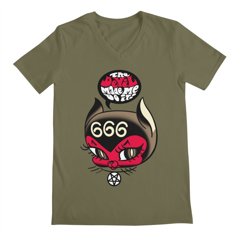 The Devil Made Me Do It! Men's Regular V-Neck by Mitch O'Connell
