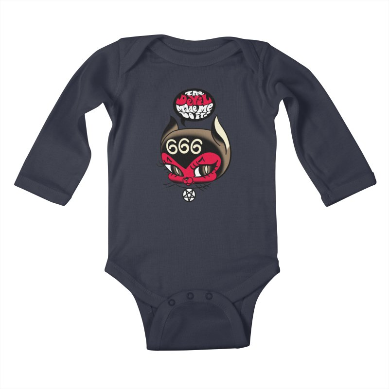 The Devil Made Me Do It! Kids Baby Longsleeve Bodysuit by Mitch O'Connell