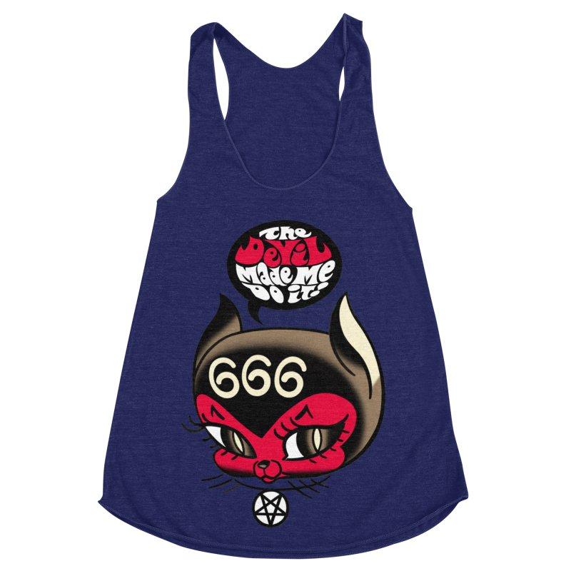 The Devil Made Me Do It! Women's Racerback Triblend Tank by Mitch O'Connell