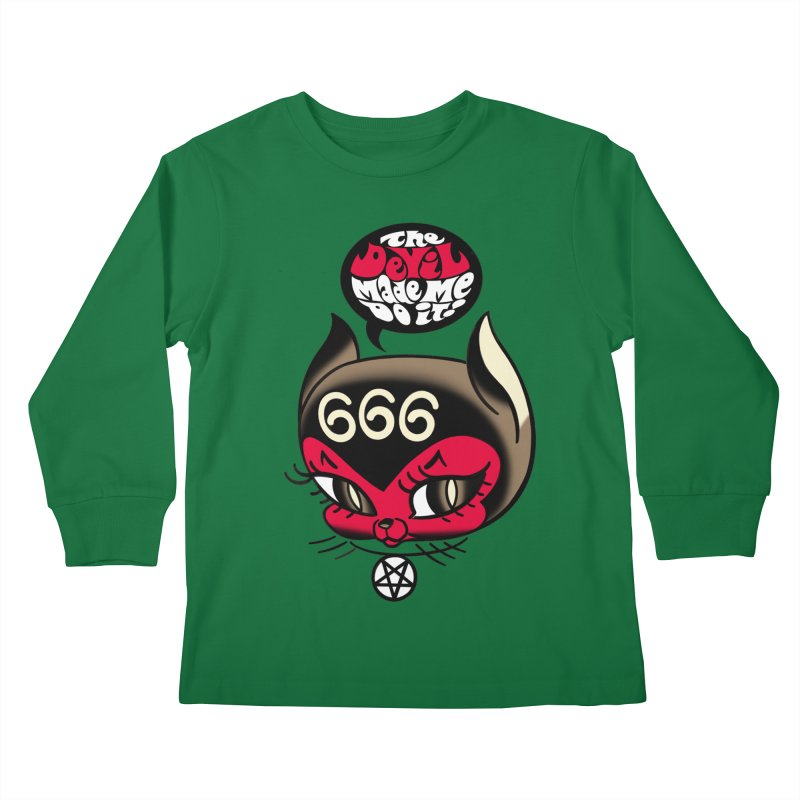 The Devil Made Me Do It! Kids Longsleeve T-Shirt by Mitch O'Connell