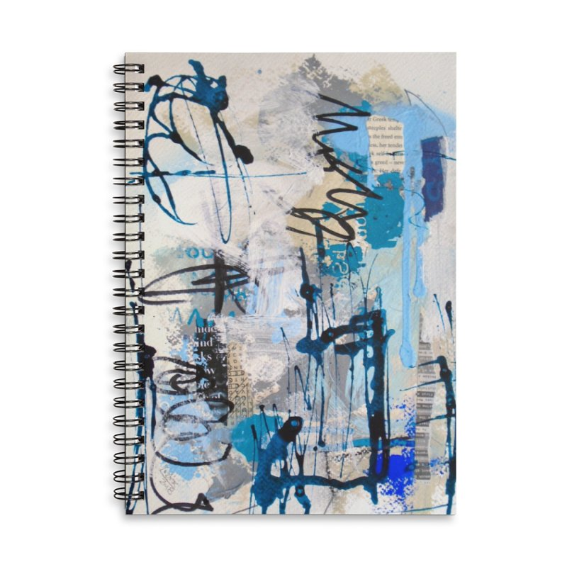 Black and Blue Haiku 9 Accessories Lined Spiral Notebook by Lorette C. Luzajic Journals