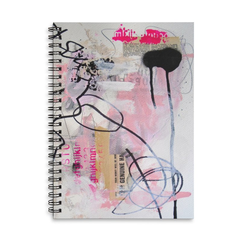 Pink and Black Haiku 7 Accessories Lined Spiral Notebook by Lorette C. Luzajic Journals