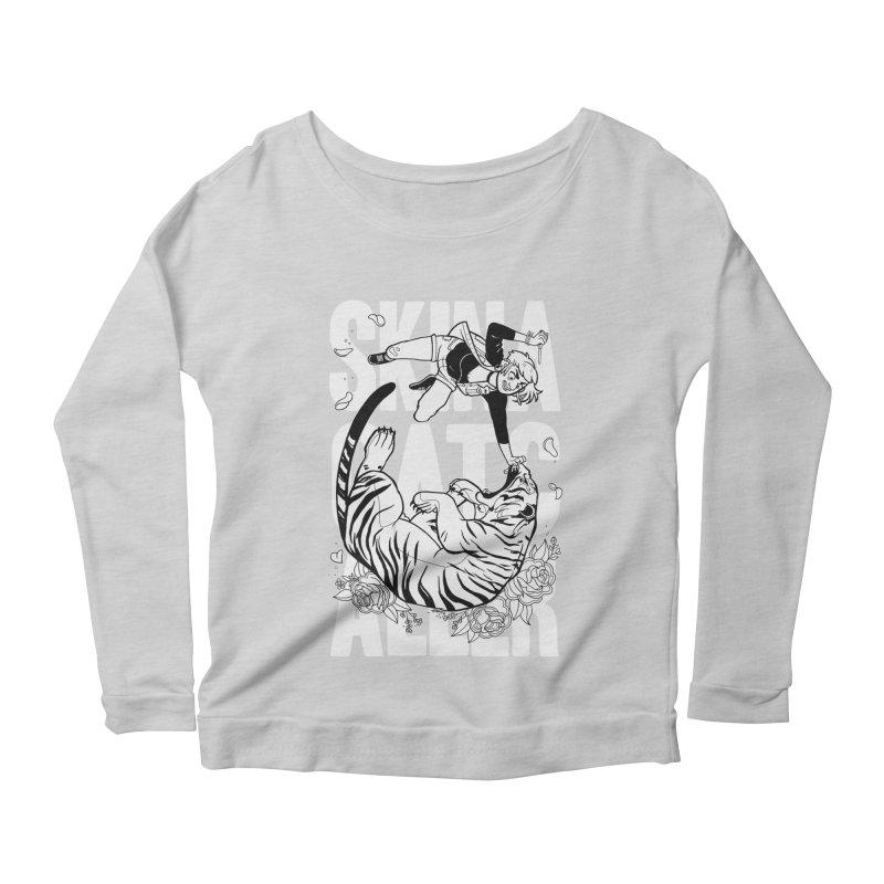 Skin a Catcaller (White Text) Women's Scoop Neck Longsleeve T-Shirt by Mixtape Comics