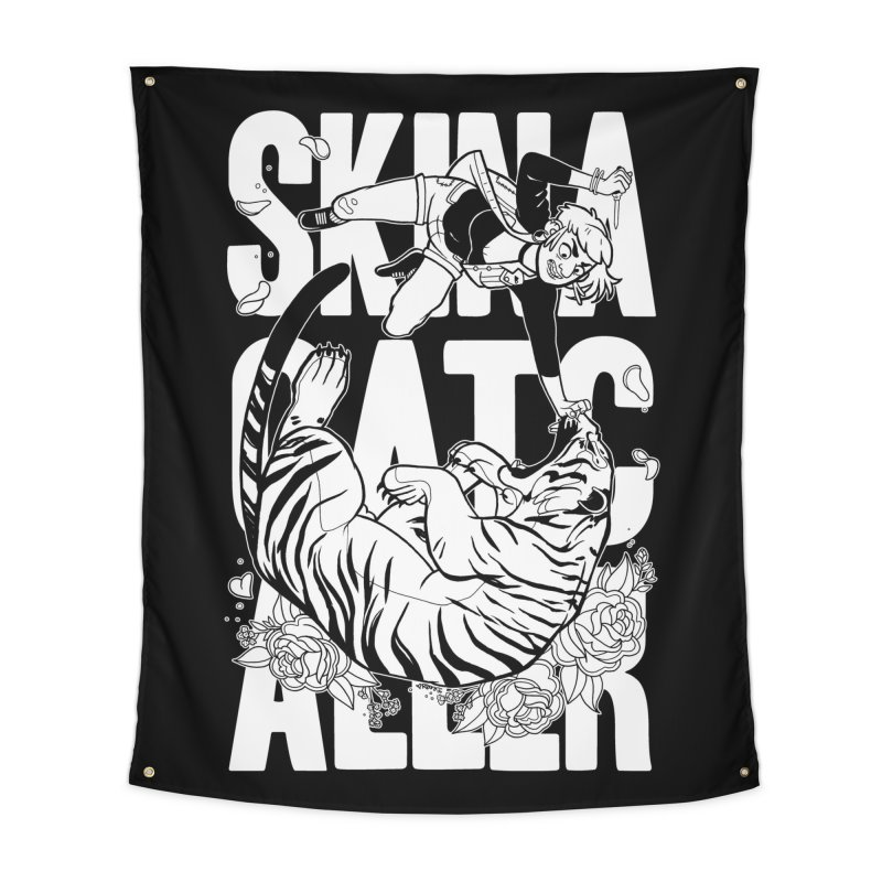 Skin a Catcaller (White Text) Home Tapestry by Mixtape Comics
