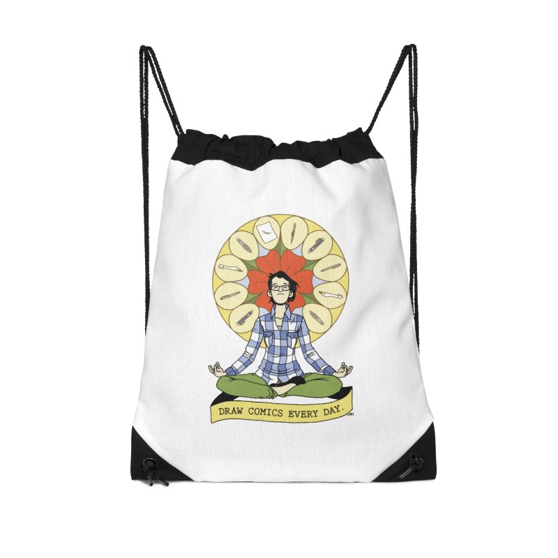 Draw Comics Every Day Accessories Drawstring Bag Bag by Mixtape Comics