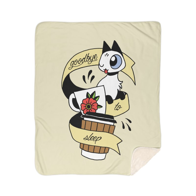Goodbye to Sleep Home Sherpa Blanket Blanket by Mixtape Comics