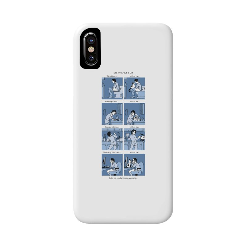 Life with/out a Cat Accessories Phone Case by mixtapecomics's Artist Shop