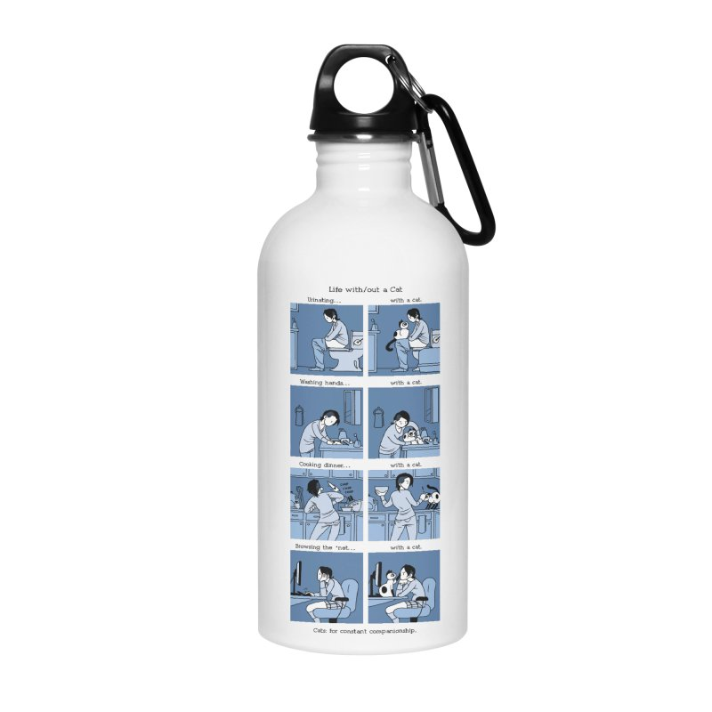 Life with/out a Cat Accessories Water Bottle by mixtapecomics's Artist Shop
