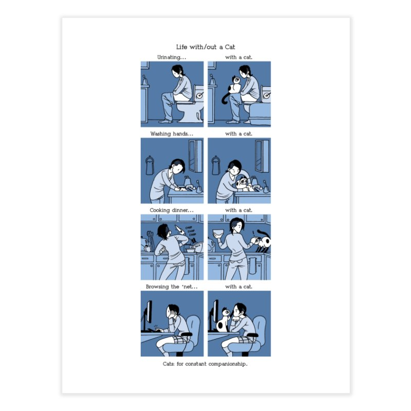 Life with/out a Cat Home Fine Art Print by mixtapecomics's Artist Shop