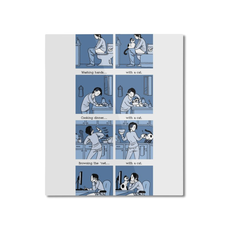 Life with/out a Cat Home Mounted Aluminum Print by mixtapecomics's Artist Shop