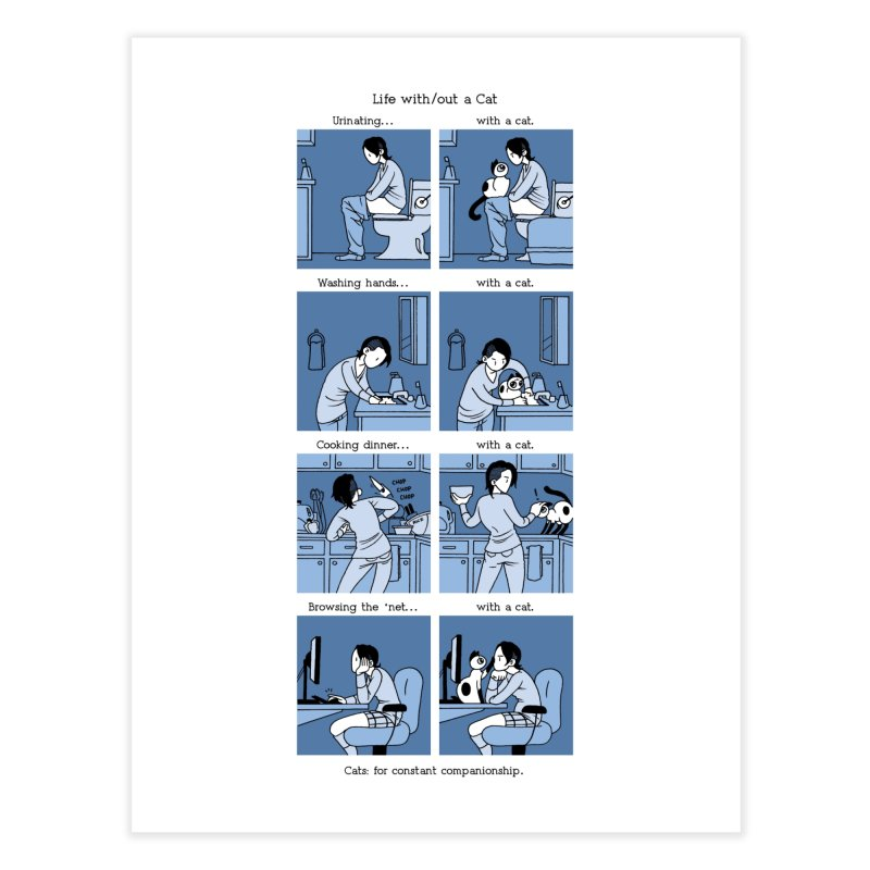 Life with/out a Cat Home Fine Art Print by Mixtape Comics