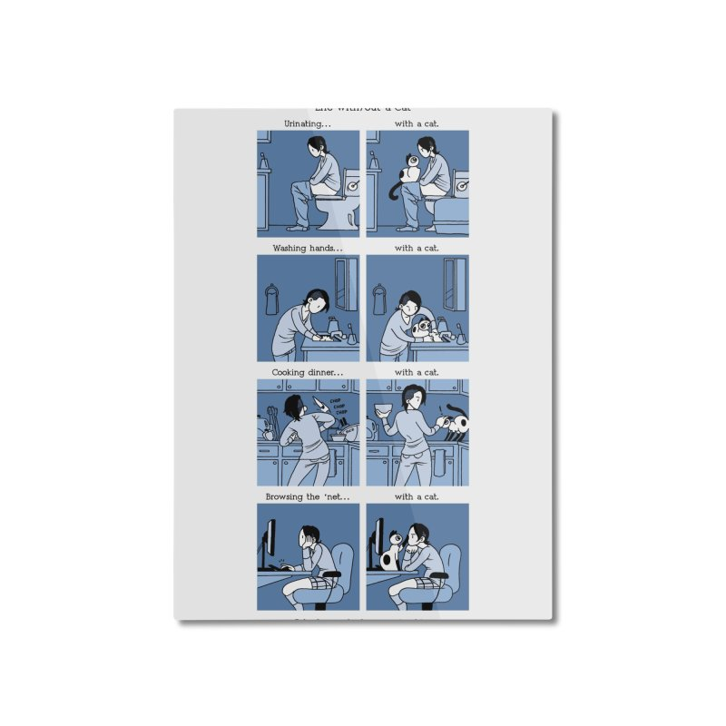 Life with/out a Cat Home Mounted Aluminum Print by Mixtape Comics