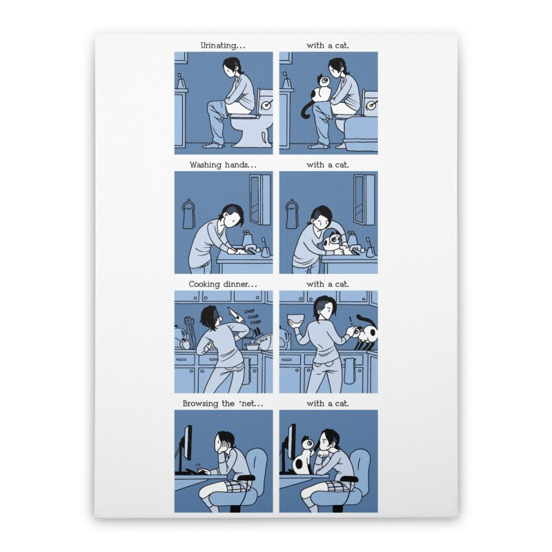 Life with/out a Cat Home Stretched Canvas by Mixtape Comics