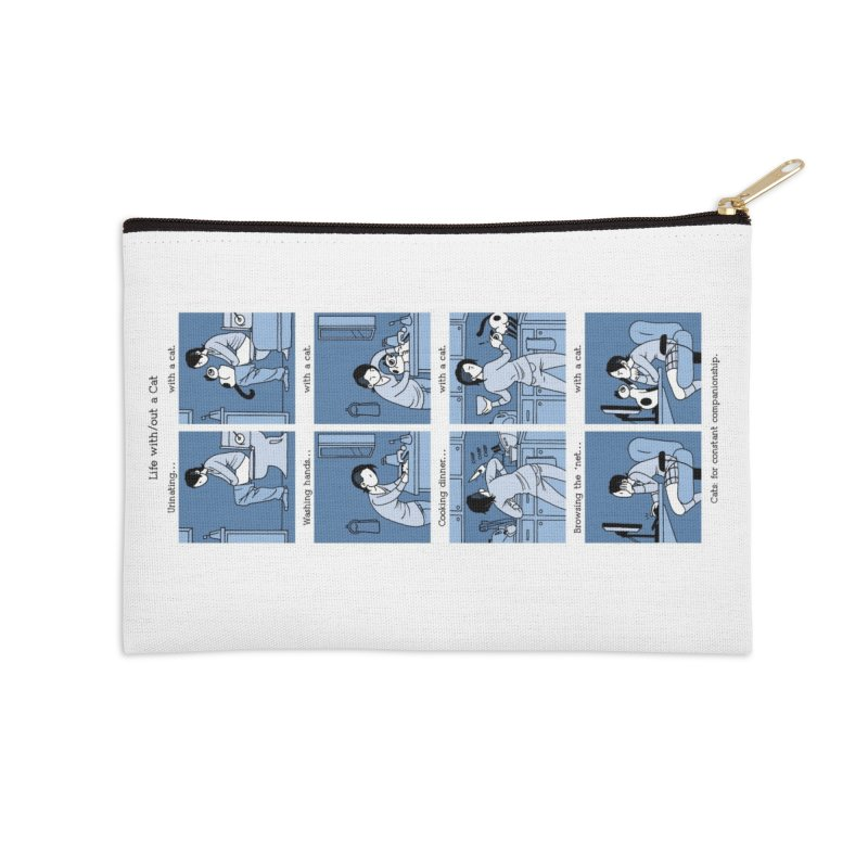 Life with/out a Cat Accessories Zip Pouch by Mixtape Comics