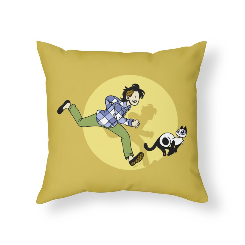 The Adventures of Frankie Home Throw Pillow by Mixtape Comics