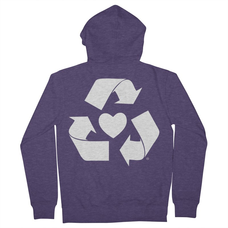Recycle Heart Men's French Terry Zip-Up Hoody by mixtapecomics's Artist Shop