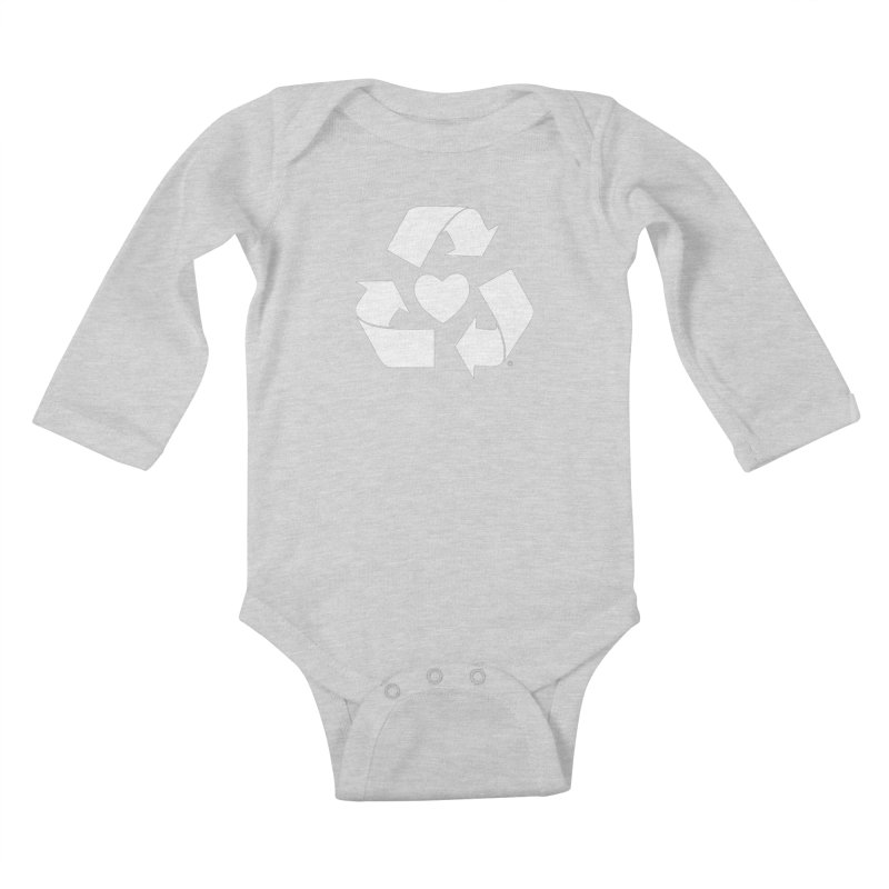 Recycle Heart Kids Baby Longsleeve Bodysuit by mixtapecomics's Artist Shop