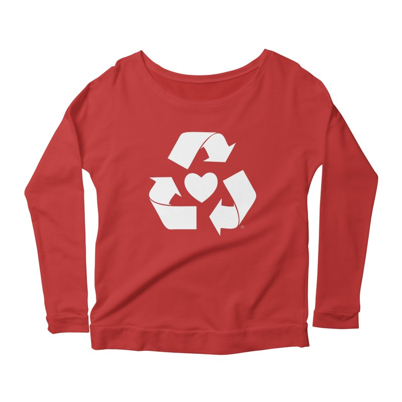 Recycle Heart Women's Longsleeve Scoopneck  by mixtapecomics's Artist Shop