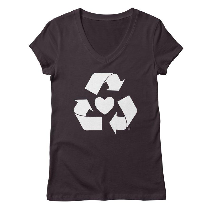 Recycle Heart Women's Regular V-Neck by Mixtape Comics