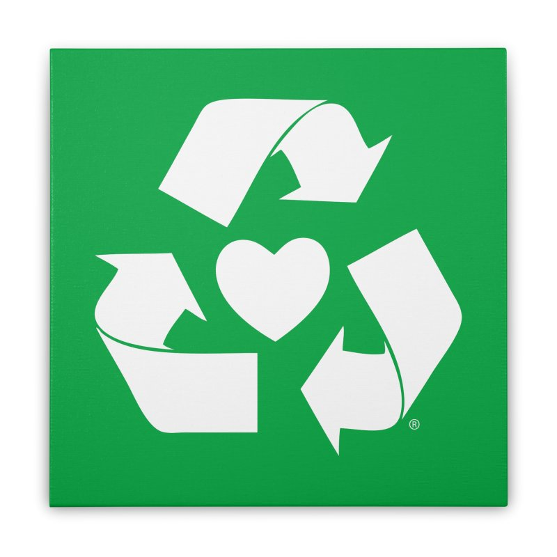 Recycle Heart Home Stretched Canvas by Mixtape Comics