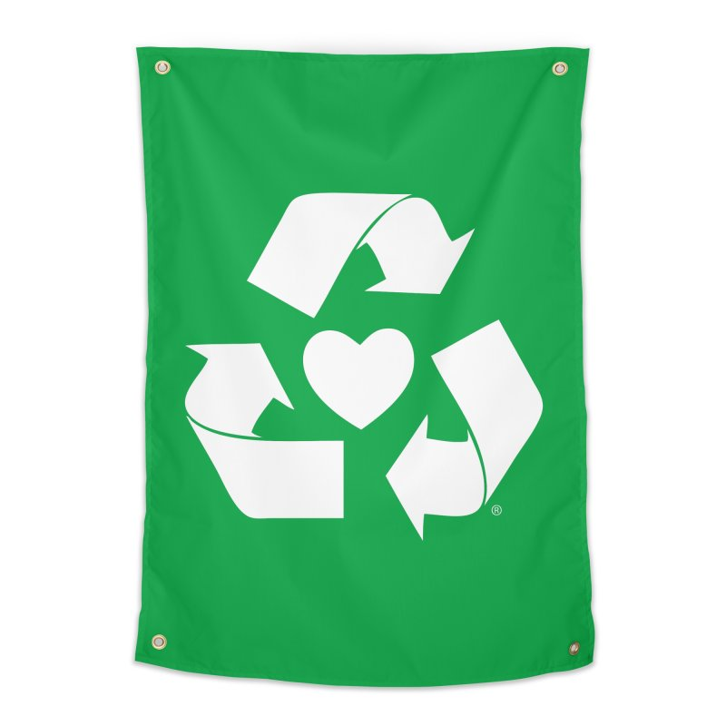 Recycle Heart Home Tapestry by Mixtape Comics