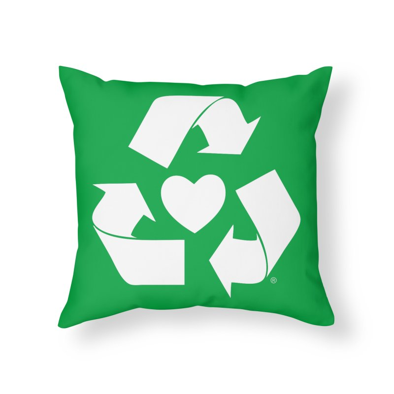 Recycle Heart Home Throw Pillow by Mixtape Comics