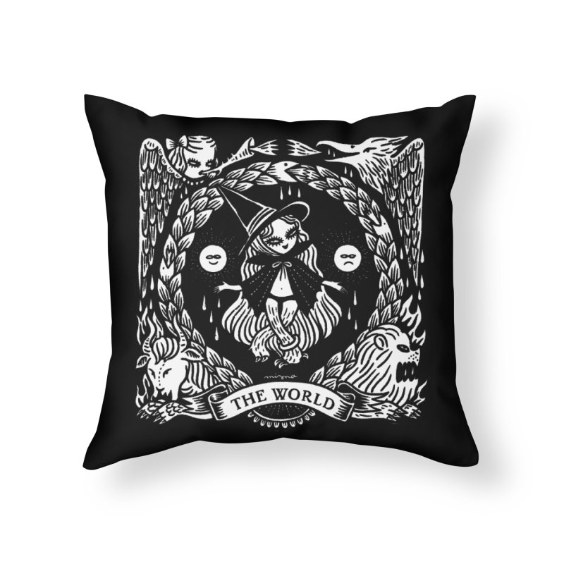 THE WORLD Home Throw Pillow by Mizna Wada