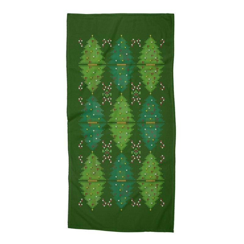 Christmas Argyle Accessories Beach Towel by mj's Artist Shop
