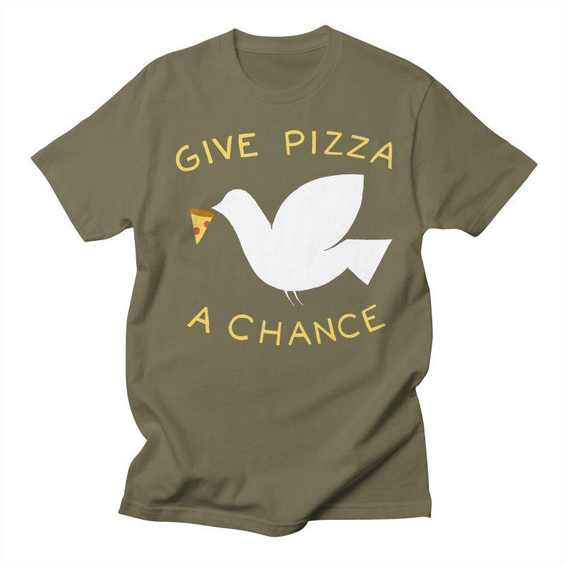 War and Pizza Men's Regular T-Shirt by mj's Artist Shop