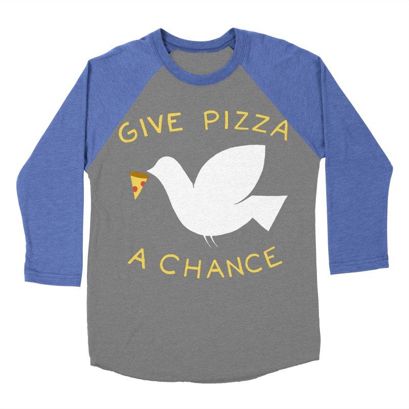 War and Pizza Women's Baseball Triblend T-Shirt by mj's Artist Shop
