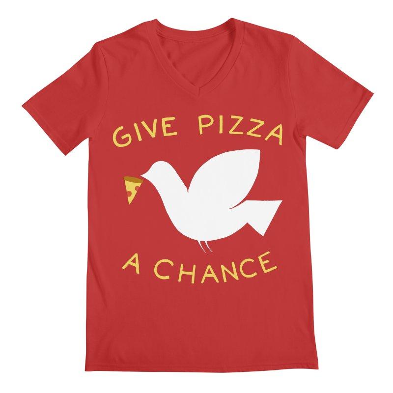 War and Pizza Men's V-Neck by mj's Artist Shop