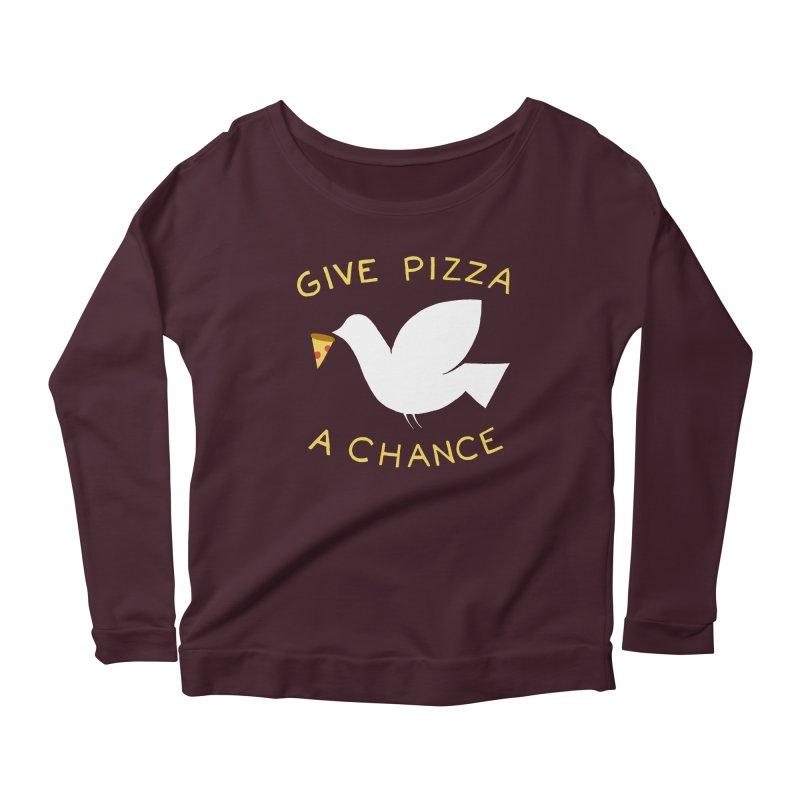 War and Pizza Women's Longsleeve Scoopneck  by mj's Artist Shop