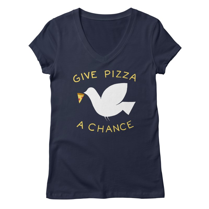 War and Pizza Women's V-Neck by mj's Artist Shop