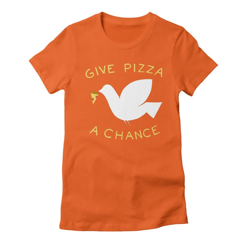 War and Pizza Women's Fitted T-Shirt by mj's Artist Shop