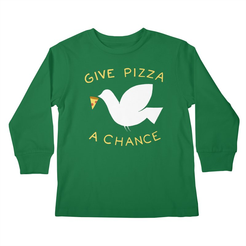 War and Pizza Kids Longsleeve T-Shirt by mj's Artist Shop