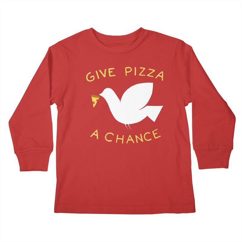 War and Pizza Kids Longsleeve T-Shirt by mj's Artist Shop